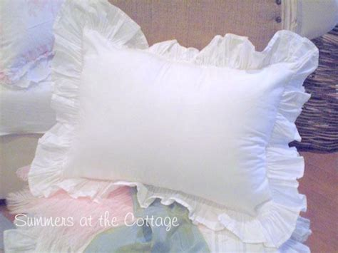 shabby chic pillow shams shabby chic poplin white ruffle pillow sham