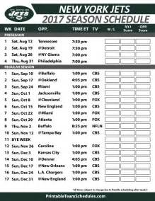 2017 New York Jets Printable Schedule