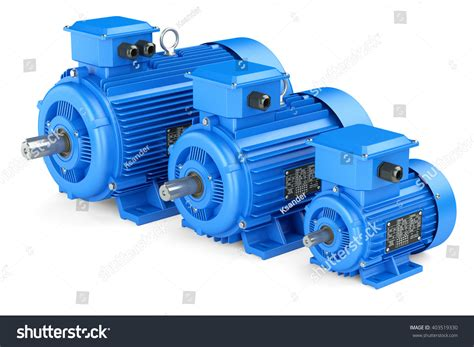 Industrial Electric Motors by Blue Electric Industrial Motors Isolated Stock