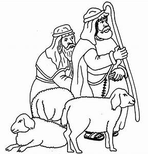 Free shepherd and sheep coloring pages
