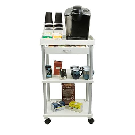 Marshall 2 shelf rolling coffee table cart. Mind Reader 'Valet' 3 Tier Rolling Coffee Cart, Organizer included, White, (CARTCOFF-WHT) at Staples