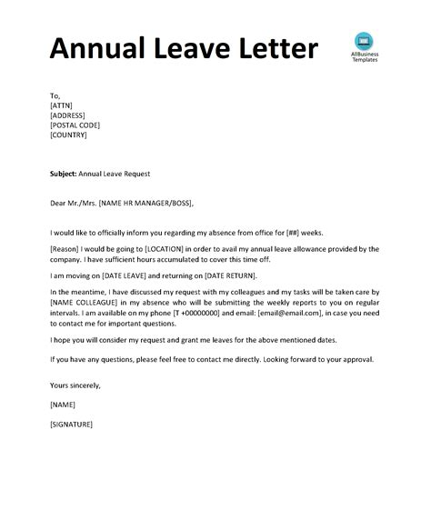 annual leave letter templates  allbusinesstemplatescom