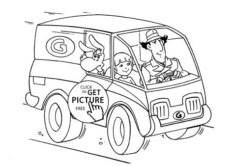 Inspector Gadget In Car Coloring Pages For Kids, Printable