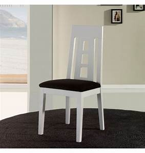 Chaise salle a manger en bois blanche x4 for Chaise salle a manger blanche