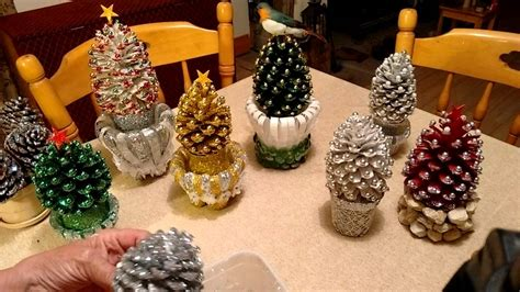 making christmas decorations  pine cones hallow