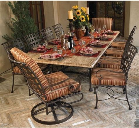 iron and wood dining table wrought iron outdoor dining table room 7585