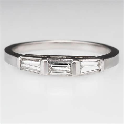 vintage tapered baguette diamond wedding band ring