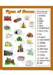 english worksheet types  houses matching exercise