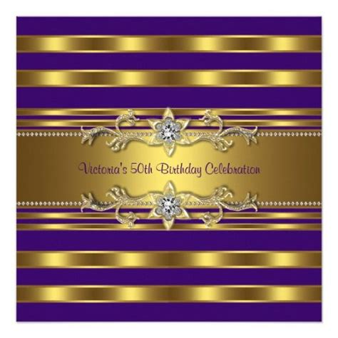 purple gold womans  birthday party invitation zazzle