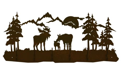 Moose Family Scene Six Hook Metal Wall Coat Rack