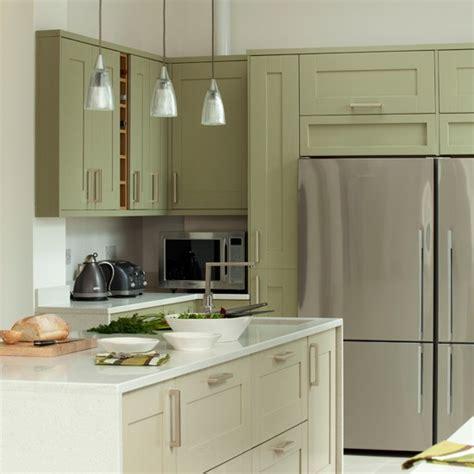 green  white kitchen  fridge freezer kitchen