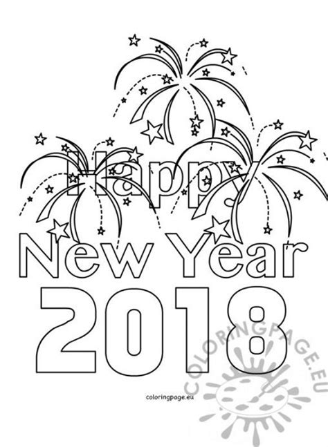 Kleurplaat Happy New Year by New Year Coloring Page
