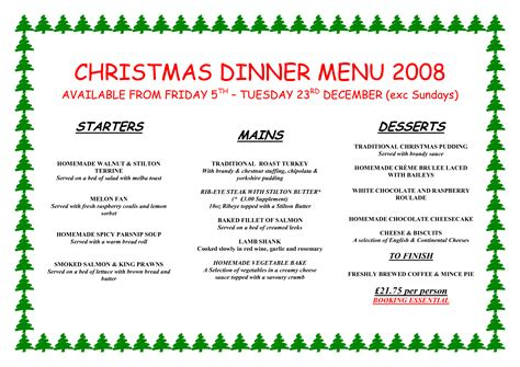 christmas dinner menu 28 images stranded in