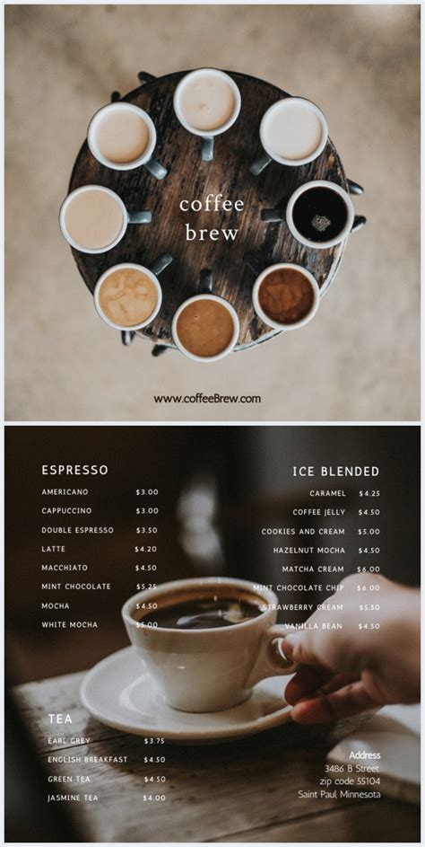 Now, you just don't have to afford a dining room with a primitive coffee table placed out there. Modern Coffee Shop Menu Template - Flipsnack