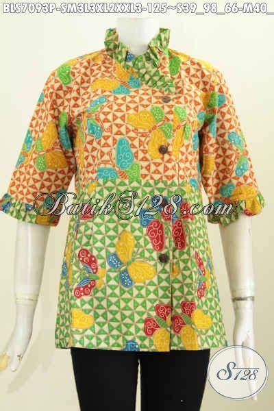 baju batik wanita trendy blus batik modern desain kerah