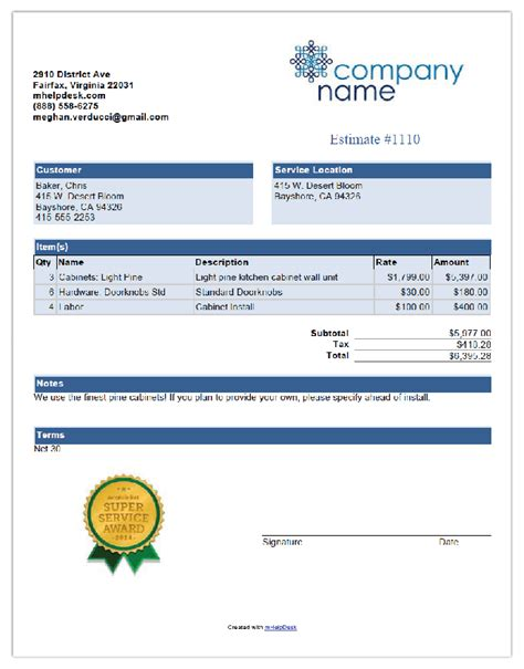 pool cleaning  invoice template  mhelpdesk