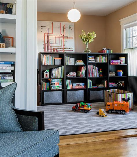 Open Shelf Bookcases by 35 Colorful Playroom Design Ideas