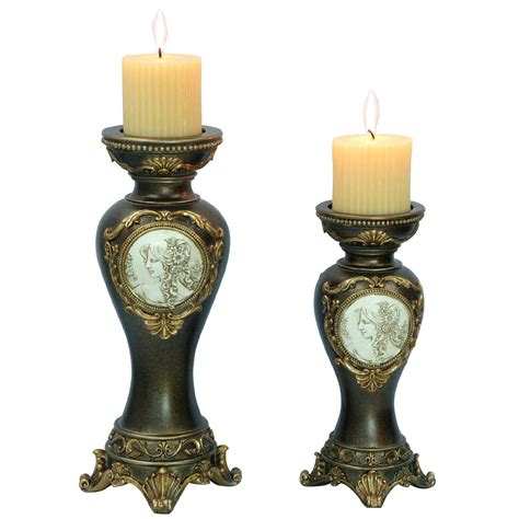 decorative candle holders ore international 14 quot 11 quot h handcrafted bronze decorative