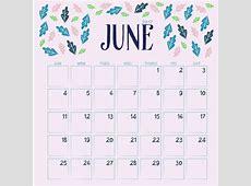 Floral june calendar design Vector Free Download