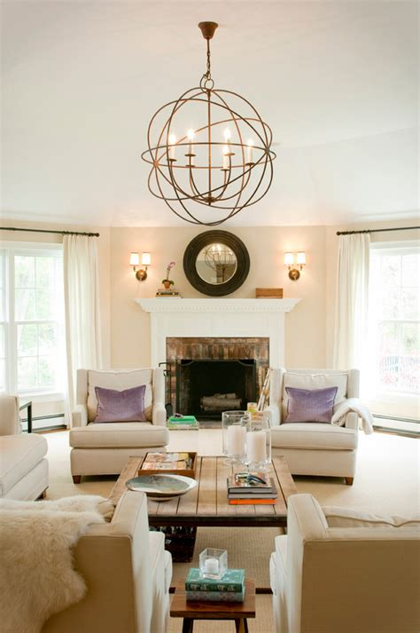 orb chandelier living room transitional with light beige