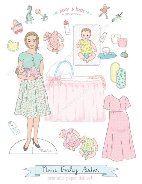 printable  baby sister paper doll play set  instant