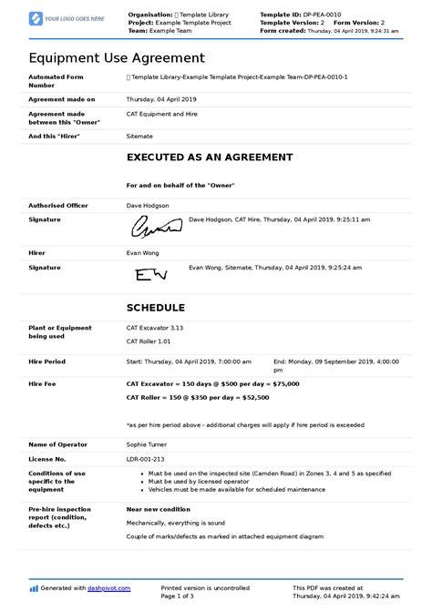 equipment  agreement template  companies  employees