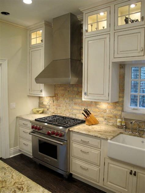 brick backsplash in kitchen nice brick back splash with lincoln park chicago kitchen with brick backsplash dresner design
