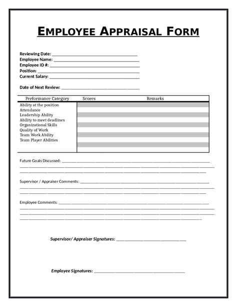 free form templates appraisal review form exle mughals