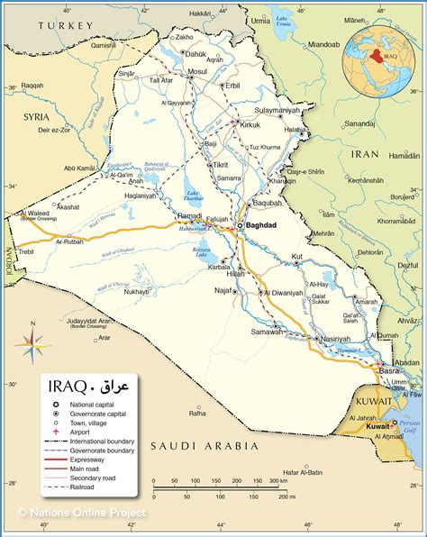 political map  iraq nations  project