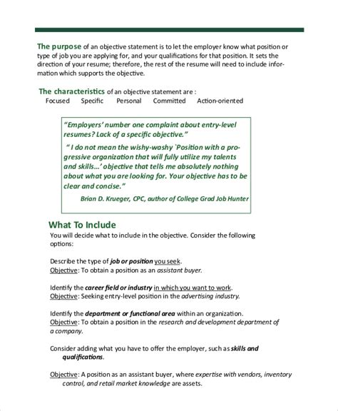 Sample Resume Objective  6+ Examples In Word, Pdf