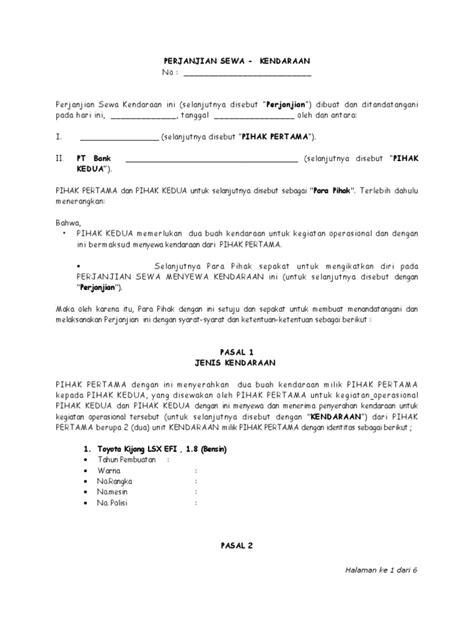 contoh surat perjanjian kerja supir contoh aja