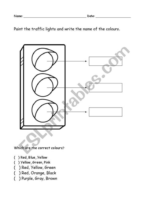 colour the traffic light esl worksheet by leticiaa