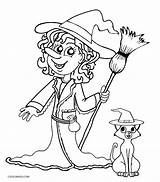 Witch Coloring Pages Witches Printable Halloween Sheets Pretty Cool2bkids Scary Drawing Head Getdrawings Template sketch template