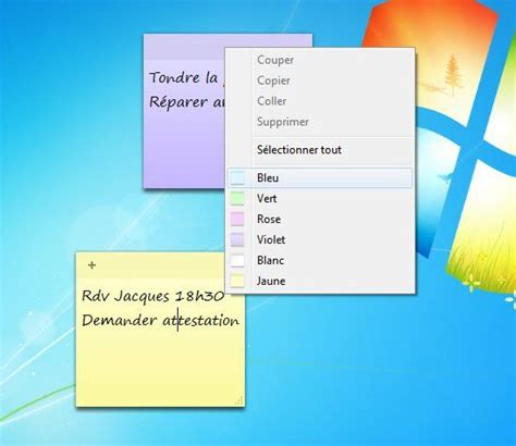 post it bureau pc afficher des post it sur un ordinateur windows 7
