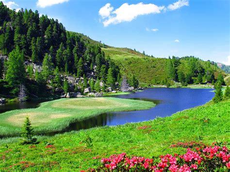 Spring Landscape Slope Sky Nature River 2560x1600 Hd ...