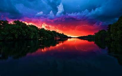 Sunset Lightning Landscape Desktop Wallpapers Background Nature