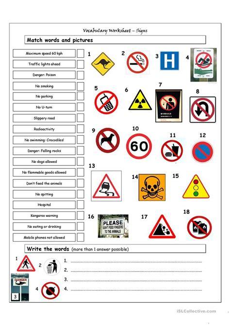 Vocabulary Matching Worksheet  Signs Worksheet  Free Esl Printable Worksheets Made By Teachers