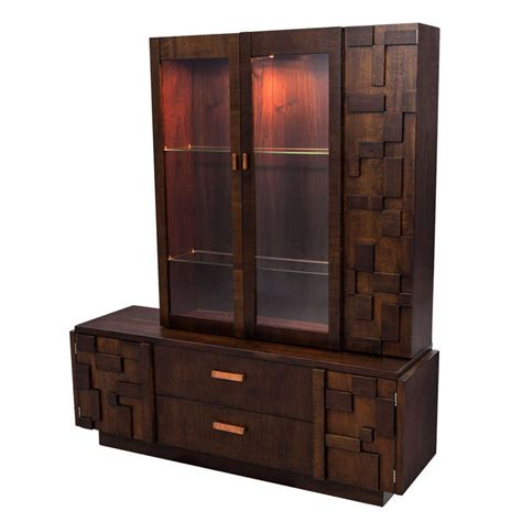 canadian kitchen cabinets brutalist mosaic walnut cabinet at 1stdibs 1979