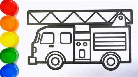 cara menggambar mobil pemadam kebakaran mewarnai gambar