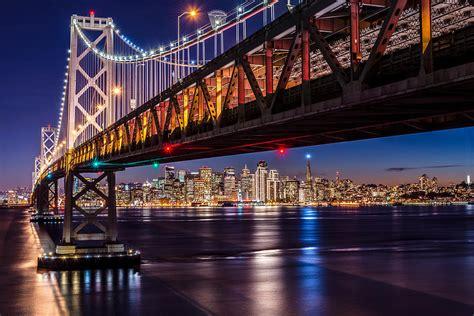 City Lights San Francisco by San Francisco Bay Bridge City Lights Photograph By Dan Wheeler