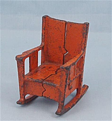 kilgore cast iron dollhouse furniture orange rocking