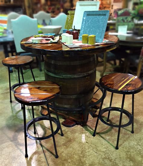 whiskey barrel pub table whiskey barrel pub table with barstools santa fe company okc