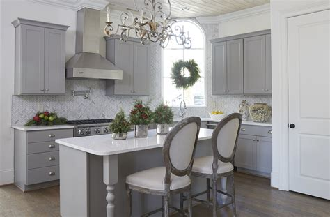 small kitchen island  gray beaded chandeliers