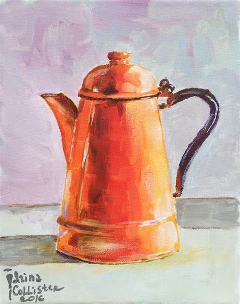 """Coffee shop painting french cafe original 18 x 24 oil painting by. 8""""x10"""" acrylic on canvas painting of orange vintage coffee pot.   Coffee painting canvas ..."""