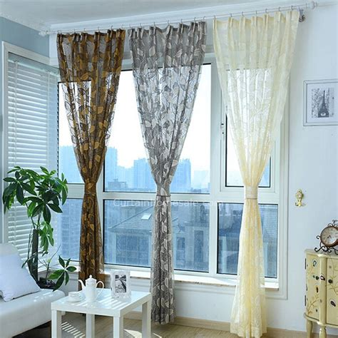 Gray Curtains For Living Room by Gray Sheer Curtain Patterned With Leaves For
