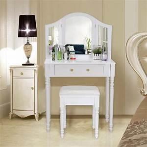 Coiffeuse Meuble Moderne : songmics coiffeuse meuble blanc table de maquillage commode avec 3 miroirs rabattables et ~ Teatrodelosmanantiales.com Idées de Décoration