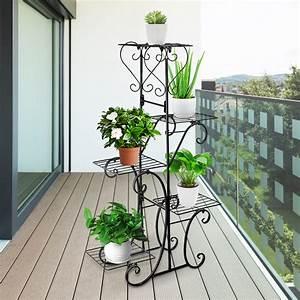 Elegant, Metal, Plant, Stand, Display, Shelf, Home, Balcony, Garden, Patio, Ornaments, Indoor, Outdoor, Black