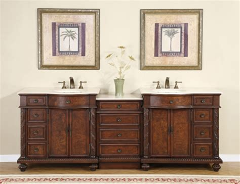 traditional double bathroom vanity  marble