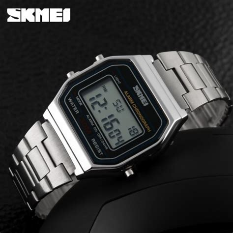 skmei 1123 silver skmei jam tangan digital pria dg1123 silver