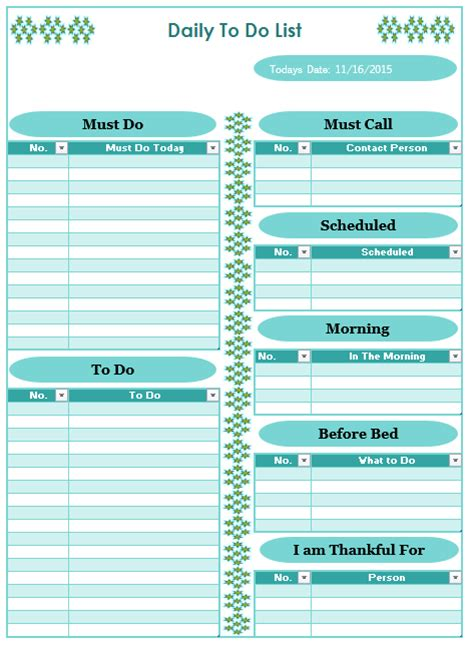 daily   list template blue layouts